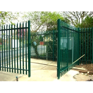 Powder coated palisade fence