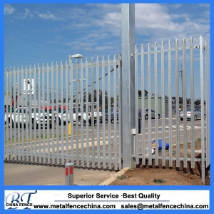 Steel palisade security fencing