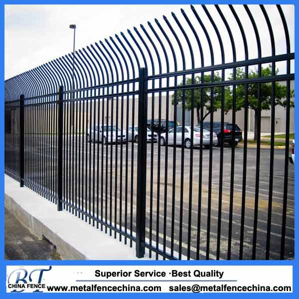 Curved wrought iron fence steel