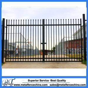 Security spear top tubular steel fence panel